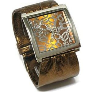 Women's bronze gold finish elegant fashion watch